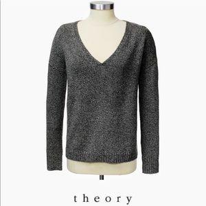 THEORY marled 100% wool v neck sweater
